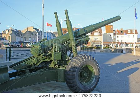 Anti-aircraft gun in  Arromanches town, Normandy, France