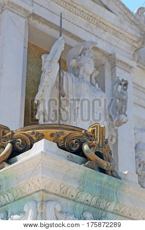 Rome, Italy 7Th July 2013. Visiting The Venezia Square. Detail Of Victor Emanuel Ii Monument