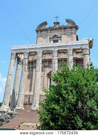 Rome, Italy July 7, 2013. The Roman Forum. Temple Of Antoninus And Faustina