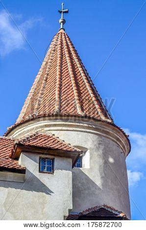 Bran, Romania - November 2, 2012. The Bran Castle, Dracula Castle, Detail Of Exterior Tower