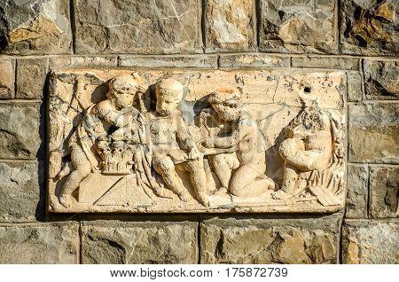 Sinaia, Romania - November 1, 2012. The Peles Castle, Detail Of Exterior Wall
