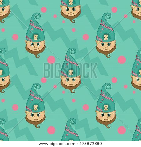 The dwarf's head seamless pattern. Background with cute gnome and little cat. Funny background for holiday decorations, greetings, and birthday cards, wrapping paper. Vector clip art.