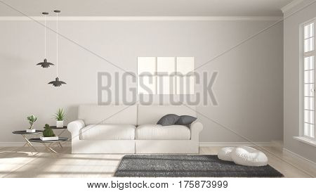 Minimalist Room, Simple White And Gray Living With Big Window, Scandinavian Classic Interior Design