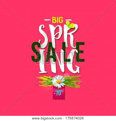Big Spring sale label with green grass and chamomile on rose background. Promotion banner. 70 percent off. May used as banner, poster, flyer. Vector illustration