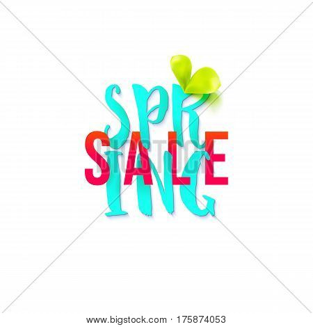 Big Spring sale lettering in blue and red colors on white background. Promotion banner. May used as banner, poster, flyer. Vector illustration