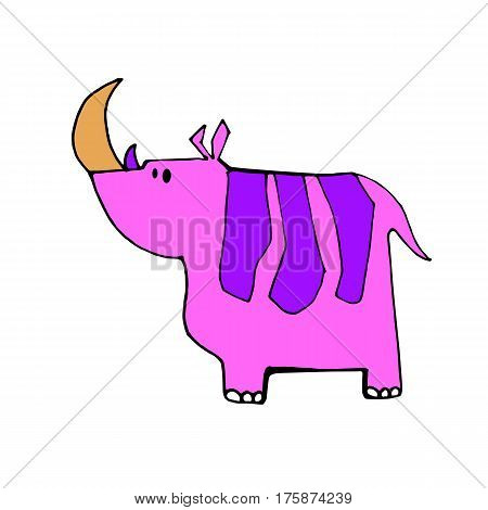 vector rhino rhinoceros animal mammal cartoon wild nature horn
