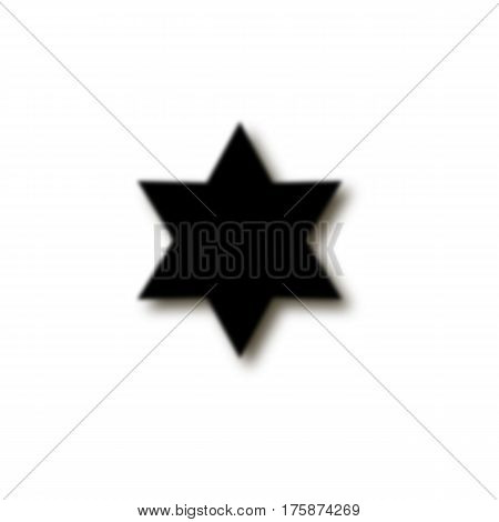 Six-pointed Star Fuzzy, Black Color, Shadow. Star Of David. Abstract Symbol. White Background. Vecto