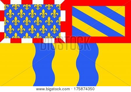 Flag of Saone et Loire - department in eastern France a department of the Burgundy region. The administrative center - Macon