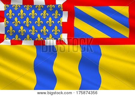 Flag of Saone et Loire - department in eastern France a department of the Burgundy region. The administrative center - Macon. 3D illustration
