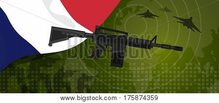France military power army defense industry war and fight country national celebration with gun soldier jet fighter and radar vector