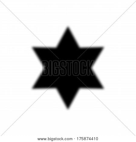 Six-pointed Star Fuzzy, Black Color. Star Of David. Abstract Symbol. White Background. Vector Illust