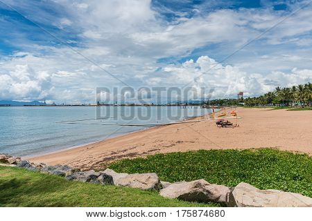 Shark and marine stinger nets to protect swimmers on The Strand beach Townsville Australia