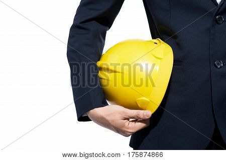 Engineer Holding Yellow Helmet For Workers Security On White Background