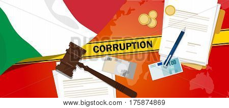 Italy corruption money bribery financial law contract police line for a case scandal government official vector