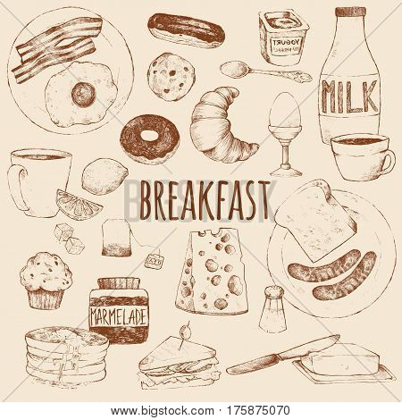 Breakfast. Vector doodle set. Scrambled eggs bacon croissant donut yogurt milk bread sausages cheese butter sandwich pancakes muffins jam tea coffee eclairs lemon salt. Hand drawing.
