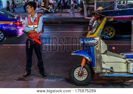 Patpong Night Market With Guard And Tuktuk Taxi