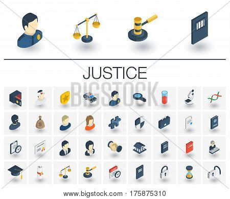 Isometric flat icon set. 3d vector colorful illustration with justice, law symbols. Legal, court, judge, crime, police, prison, gavel and scale colorful pictogram Isolated on white