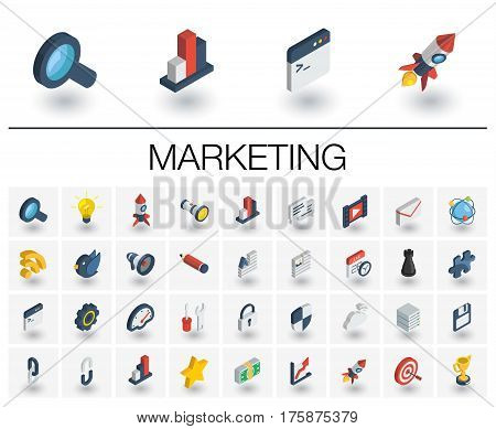Isometric flat icon set. 3d vector colorful illustration with SEO symbols. Digital network, analytics, social media and market colorful pictogram Isolated on white