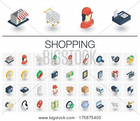 Isometric flat icon set. 3d vector colorful illustration with shoppig symbols. Add to cart or basket, mall, supermarket building, deliveryman, cashier, bank card colorful pictogram Isolated on white