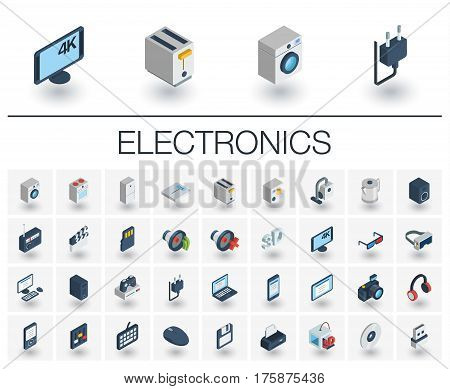 Isometric flat icon set. 3d vector colorful illustration with electronics, multimedia and technology symbols. Music, film, phones, joystick, video, kitchen gadgets colorful pictogram Isolated on white