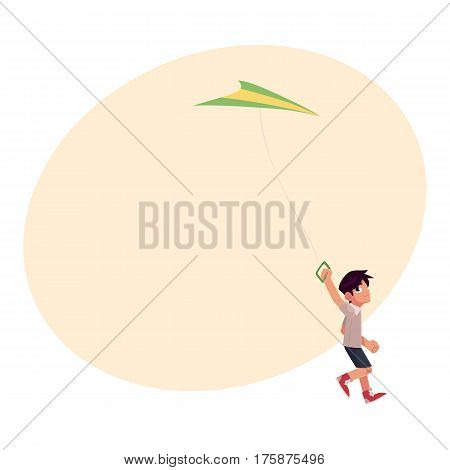 Teenage boy running with colorful kite flying in the sky, cartoon vector illustration with place for text. Little teen boy running with a kite, summer outdoor activity
