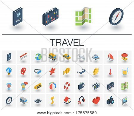 Isometric flat icon set. 3d vector colorful illustration with travel, tourism symbols. Summer vacation, airplane, map, luggage, sunglasses colorful pictogram Isolated on white