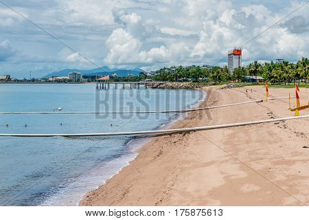 Shark and marine stinger nets to protect swimmers on The Strand beach, Townsville, Australia