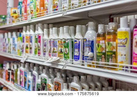 Many Types Of Pet Products In Pet Shop