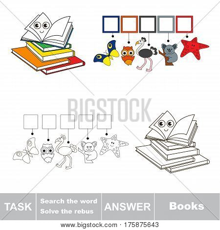 Educational rebus game for preschool kids with easy game level to find solution and write the hidden word in grid cells - Books poster