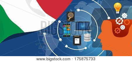 Italy IT information technology digital infrastructure connecting business data via internet network using computer software an electronic innovation vector