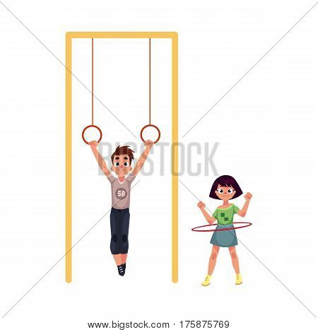 Boy and girl playing at playground, hanging on gymnastic rings. spinning hula hoop, cartoon vector illustration isolated on white background. Friends having fun at playground, summer activity concept