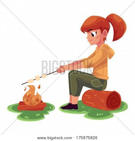 Teenage Caucasian girl frying marshmallow on fire, camping, hiking concept, cartoon vector illustration isolated on white background. Girl scout, tourist frying marshmallow sitting at camping fire
