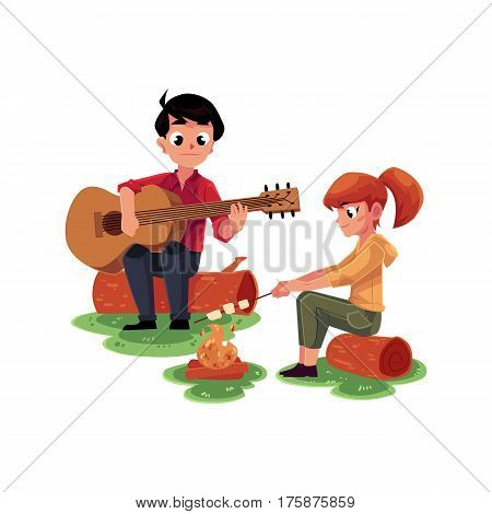 Camping kids - boy and girl playing guitar and frying marshmallow on fire, cartoon vector illustration isolated on white background. Kids camping, hiking, playing guitar and frying marshmallow