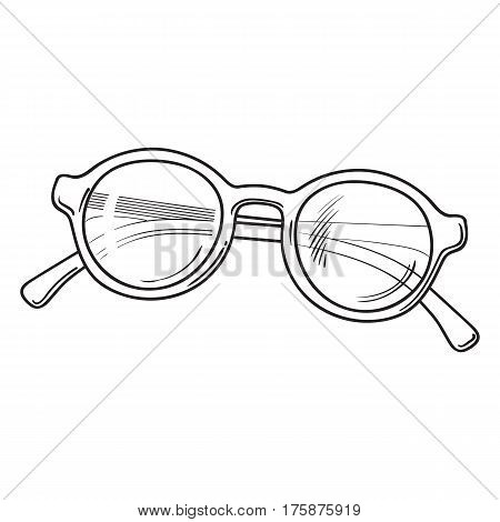 Fashionable round sunglasses in plastic frame, summer vacation attribute, sketch vector black and white illustration isolated on white background. Hand drawn round glamorous sunglasses,