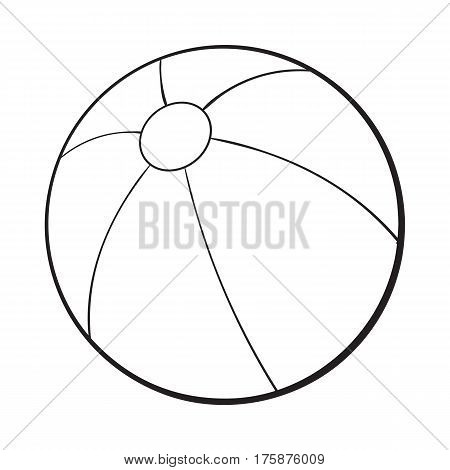 black and white inflated beach ball, sketch style vector illustration isolated on white background. Hand drawn colorful beach ball, symbol of summer vacation in tropical countries