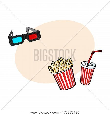 Cinema objects - popcorn bucket, 3d glasses and soda water in paper cup, sketch vector illustration with place for text. Typical movie attributes like popcorn, soda, glasses