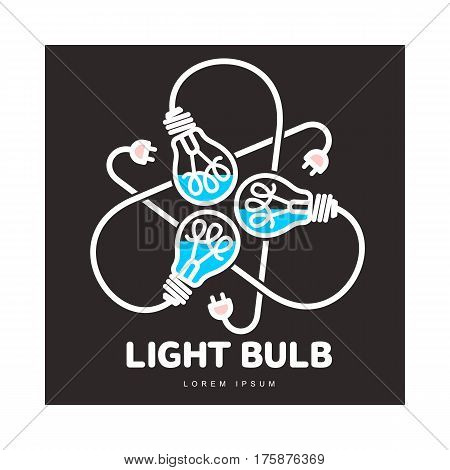 Logo of three black outline, line art light bulbs with different content levels and powers cords, vector illustration isolated on black background. Logotype, logo design with three light bulbs