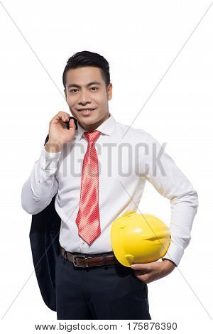 architect professional isolated engineer young white hard businessman business man male construction background happy portrait person adult caucasian one industry safety success job hat confident helmet asian cut out