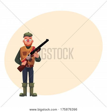 Funny male hunter in hunting vest and rubber boots holding a rifle, cartoon vector illustration with place for text. Full length portrait of typical duck hunter with a gun, rifle