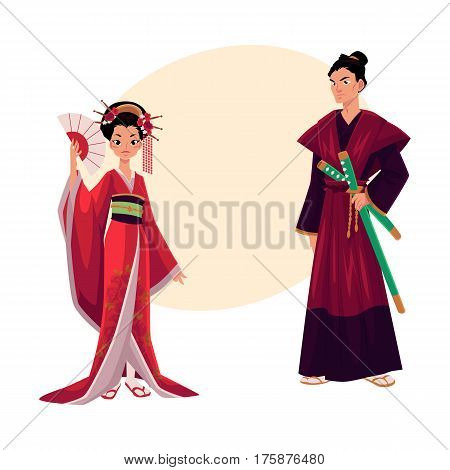 Japanese geisha and samurai in traditional kimono, symbols of Japan, cartoon vector illustration with place for text. Full length portrait of typical Japanese geisha and samurai