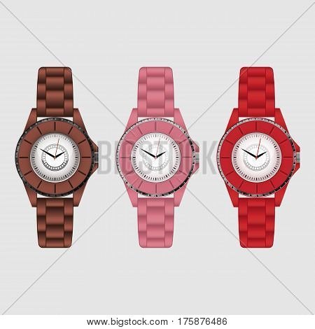 Set of three silicone colorful vector wristwatches
