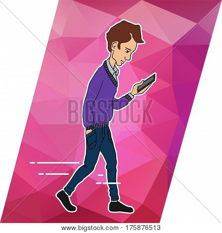 Guy looking at mobile phone apps. Walking guy with a mobile phone. Icons apps in smartphone of guy. Vector person of guy walking and looking at phone. Person with mobile. Online services in smartphone