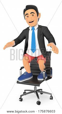 3d business people illustration. Businessman in shorts on his office chair. Holidays concept. Isolated white background.