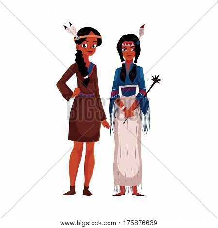 Native American Indian women - in traditional short buckskin dress and tribal fringed shirt, cartoon vector illustration isolated on white background. Native American, Indian woman in national clothes