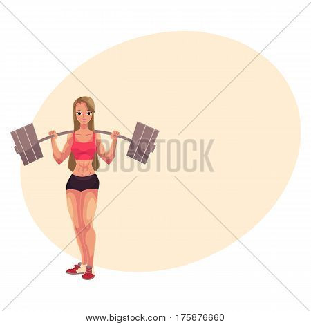 Young woman, female bodybuilder, weightlifter working out with barbell, cartoon vector illustration with place for text. Woman bodybuilder standing with barbell on her shoulders