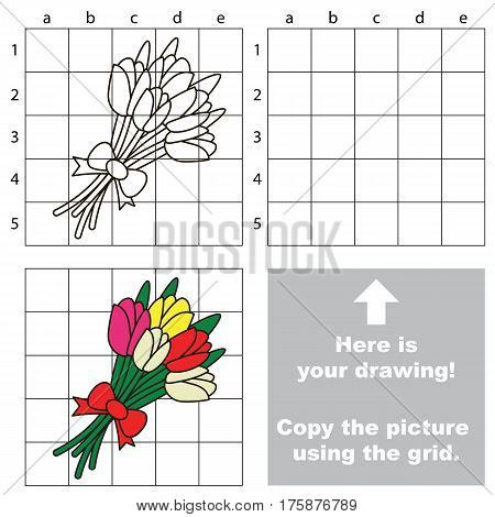 Copy the picture using grid lines, the simple educational game for preschool children education with easy gaming level, the kid drawing game with Tulip Bouqiet.