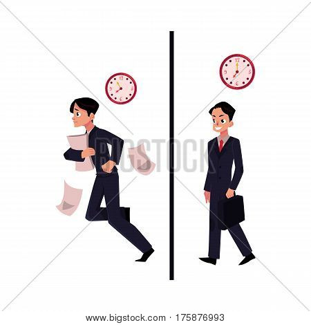 Young businessman, manager in business suit, hurrying and walking confidently to work, cartoon vector illustration isolated on white background. Businessman, employee going to work, late and in time