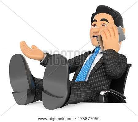 3d business people illustration. Businessman talking on mobile phone with feet up. Isolated white background.