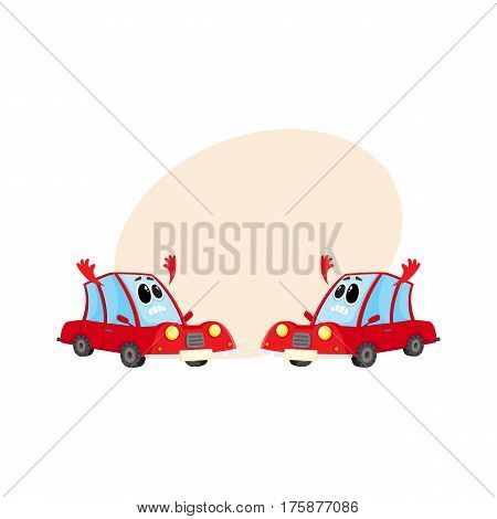 Two funny red car, auto characters absolutely dismayed and despaired, cartoon vector illustration with place for text. Couple of red car characters, mascots with flinging hands in despair