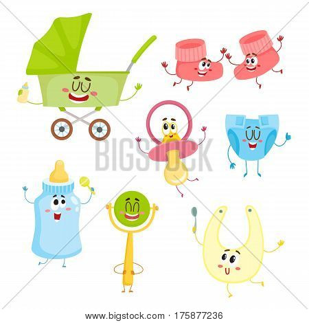 Cute and funny kid item, baby care supply characters with human faces, cartoon vector illustration isolated on white background. Baby carriage, diaper, rattle toy, milk bottle, pacifier characters